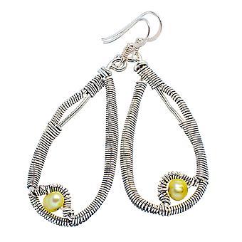 Yellow Cultured Pearl Earrings 2 1/4