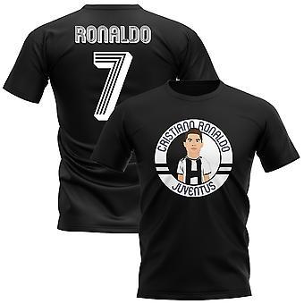 Криштиану Роналду Ювентус иллюстрации футболки (черный)