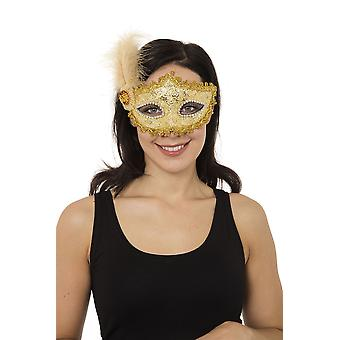 Gold Braided Eyemask with Feather