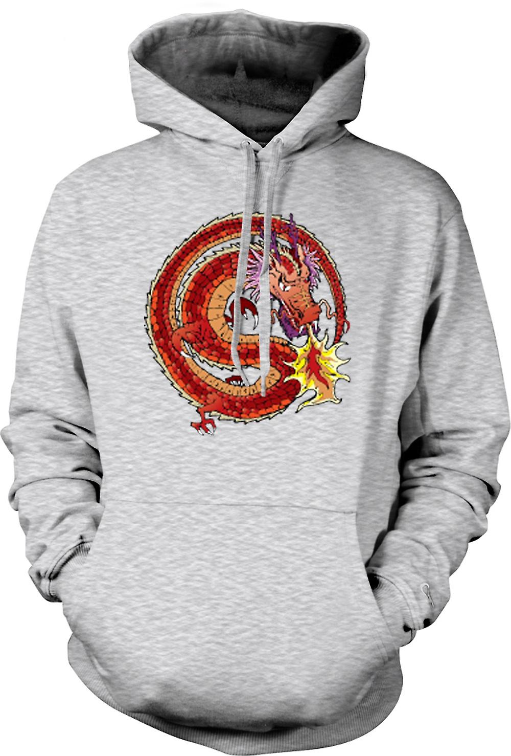 Mens Hoodie - Chinese Dragon Traditional Design