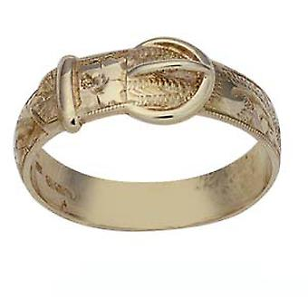 9ct Gold hand engraved Buckle Ring Size Z