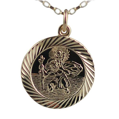 9ct Gold 21mm round diamond cut edge St Christopher Pendant with belcher Chain 16 inches Only Suitable for Children