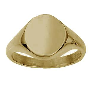 18ct Gold 14x12mm solid plain oval Signet Ring Size R