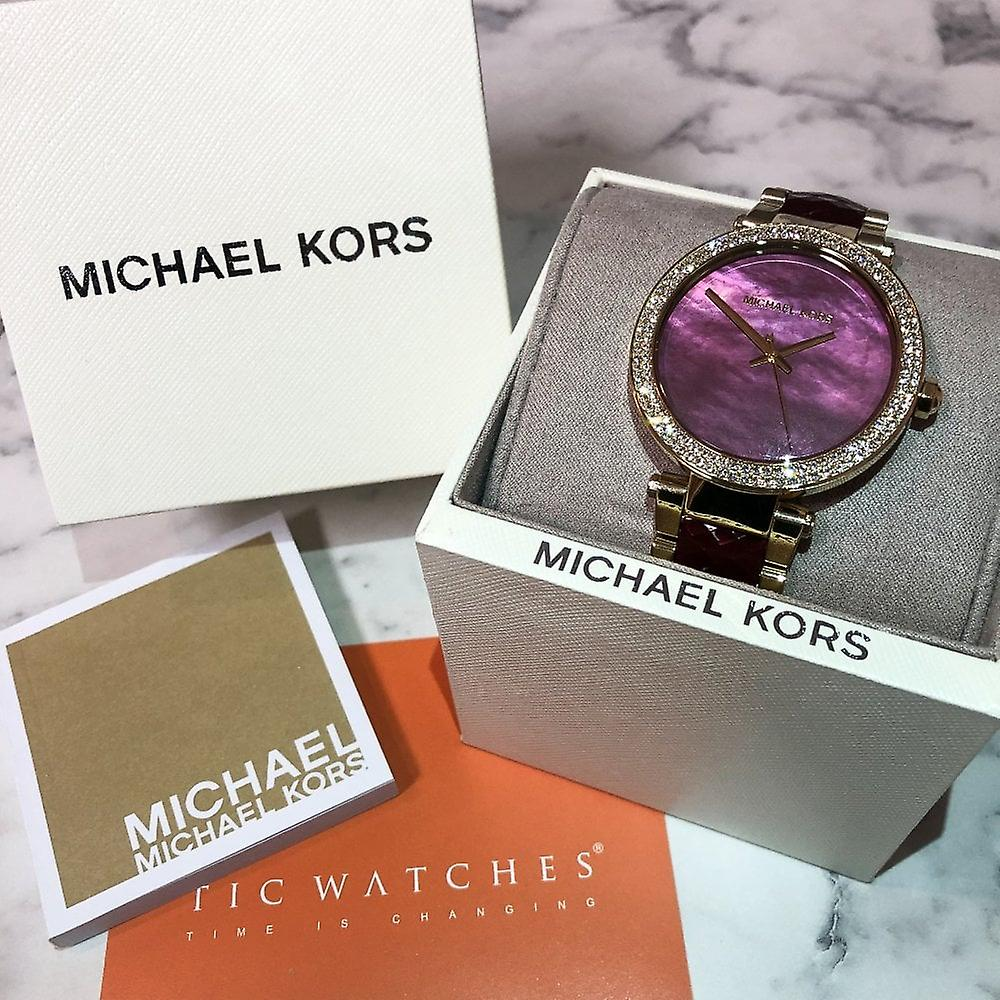 dcd3f6209bb Michael Kors Watches Mk6427 Parker Gold   Deep Red Stainless Steel Ladies  Watch
