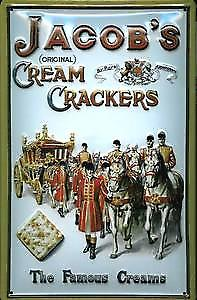 Jacobs Crackers Coach & Horses embossed Steel Sign   (hi 3020)