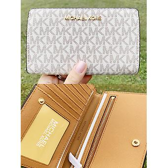 Michael kors jet set travel pvc slim bifold wallet vanilla mk acorn