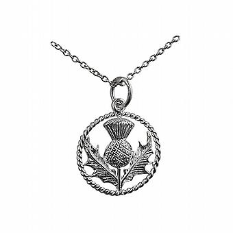 Silver 17mm Scottish Thistle Pendant with a twisted wire surround in a circle with a rolo Chain 14 inches Only Suitable for Children