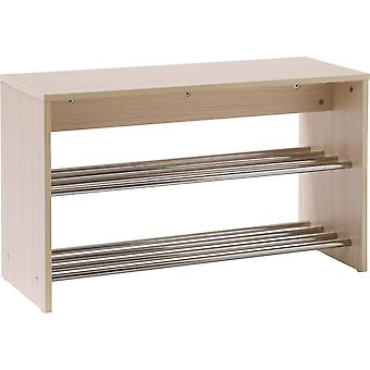 Grid - Hallway Shoe Storage Unit - Light Oak / Silver