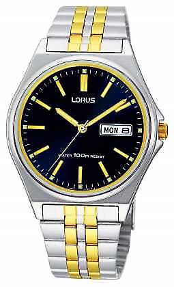 Lorus Mens Two Tone Blue Dial Quartz RXN27BX9 Watch