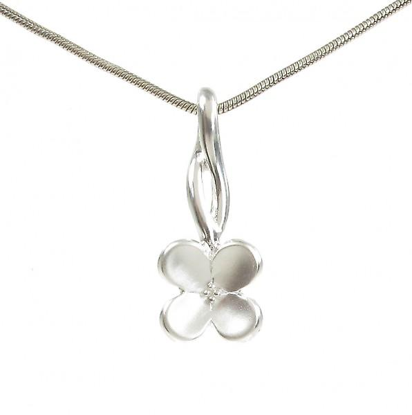 Cavendish French Sterling Silver Brushed Four Petals Pendant