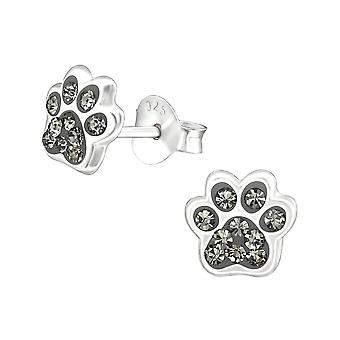 Children's Sterling Silver Paw Print Crystal Stud Earrings