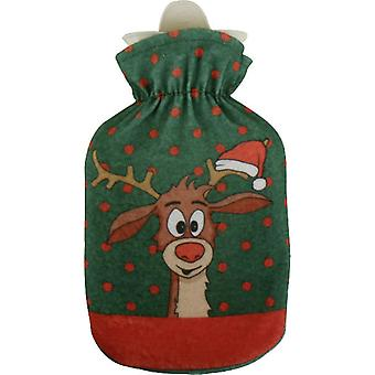 Didi Cartoon Reindeer Mini 500ml Hot Water Bottle: Green