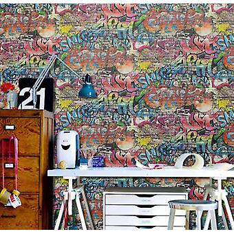 P&S Graffiti Street art Children Kids Teenager Tag Brick Wall Textured Wallpaper