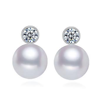 925 Sterling Silver Bezel Pearl Earrings