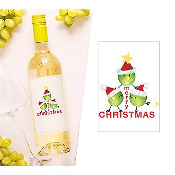 Merry Christmas Sprouts Wine Bottle Label