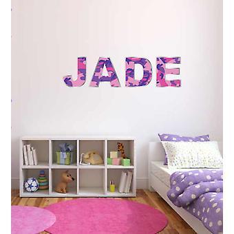 Fullfärg personlig rosa och lila armé kamouflage namn flickor sovrum vägg klistermärke dekal barn sovrum dekoration