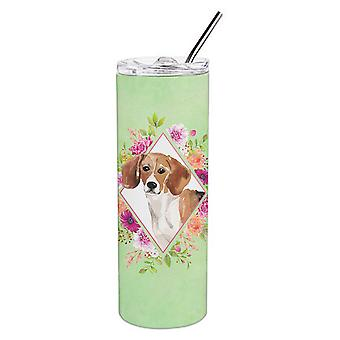 Beagle Green Flowers Double Walled Stainless Steel 20 oz Skinny Tumbler