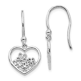925 Sterling Silver White Ice Heart Shaped With Flower Shepherd Hook Earrings - .006 dwt 1.8 Grams