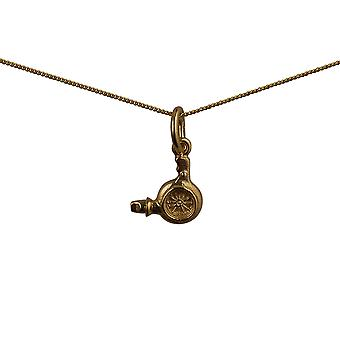 9ct Gold 10x10mm Hairdressers Hair Dryer Pendant with a curb Chain 16 inches Only Suitable for Children