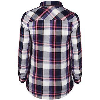 Navy, Pink & White Checked Boyfriend Shirt With Pockets