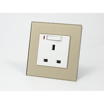 I LumoS AS Luxury Gold Crystal Glass Single Switched with Neon Wall Plug 13A UK Sockets