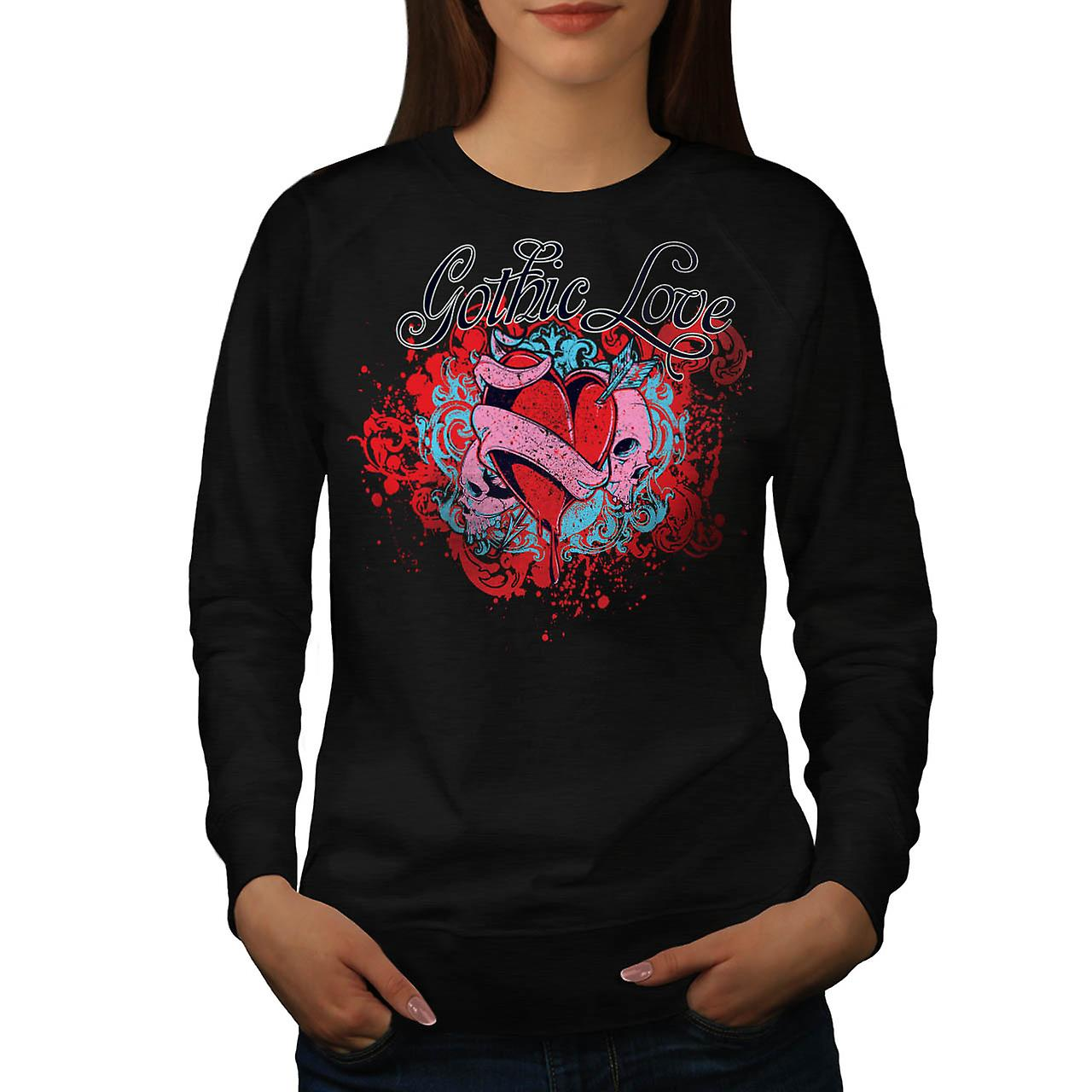 Gothic Love Heart Skull Women Black Sweatshirt | Wellcoda
