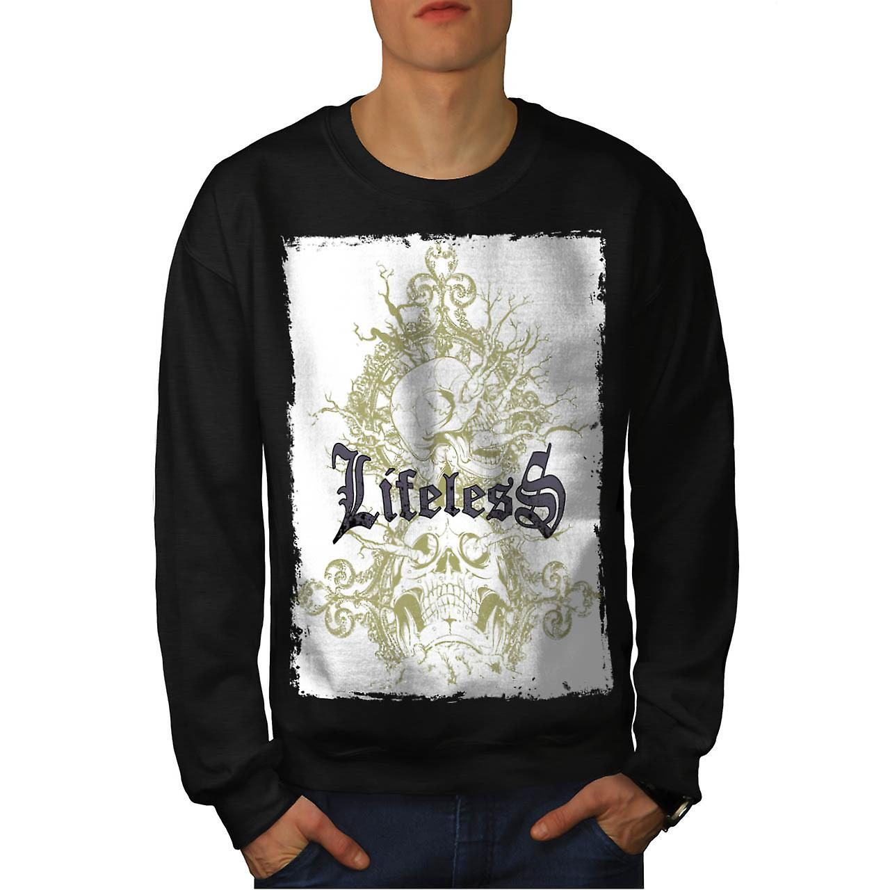 Lifeless Gothic Skull Grave Yard Men Black Sweatshirt | Wellcoda