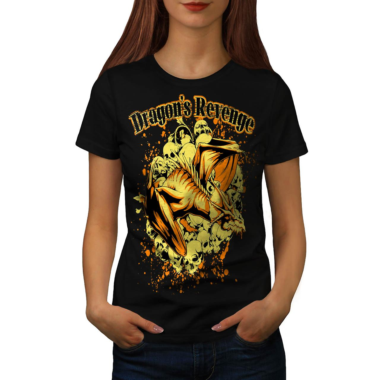 Dragon Revenge Rage Myth Monster Women Black T-shirt | Wellcoda