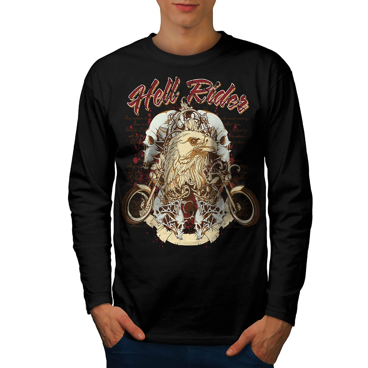 Hell Rider Biker Life Eagle Bike Men Black Long Sleeve T-shirt | Wellcoda