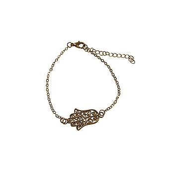 Minimalist statement bracelet with gold-coloured buddha hand