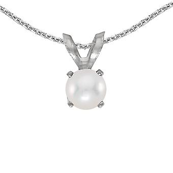 14k White Gold Freshwater Cultured Pearl Pendant with 18