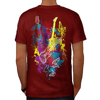Guitar Dream Player Electric Men Red T-shirt Back | Wellcoda