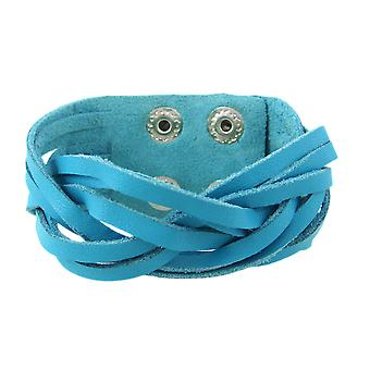 Turquoise Blue Leather Braided Wristband