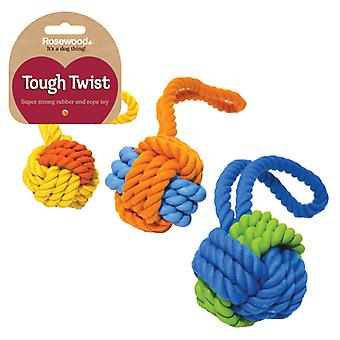 Tough Twist Rubber & Rope Ball Tug 30cm (Pack of 3)