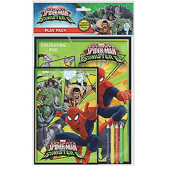 Ultimate Spiderman vs sinistre 6 jouer Pack coloration Pads crayons Childrens