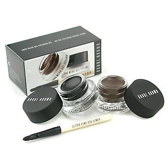 Bobbi Brown Long Wear Gel Eyeliner Duo: 2 x Eyeliner Gel 3g (encre noire, encre sépia) + Eye-Liner Ultra Fine Mini brosse 3pcs