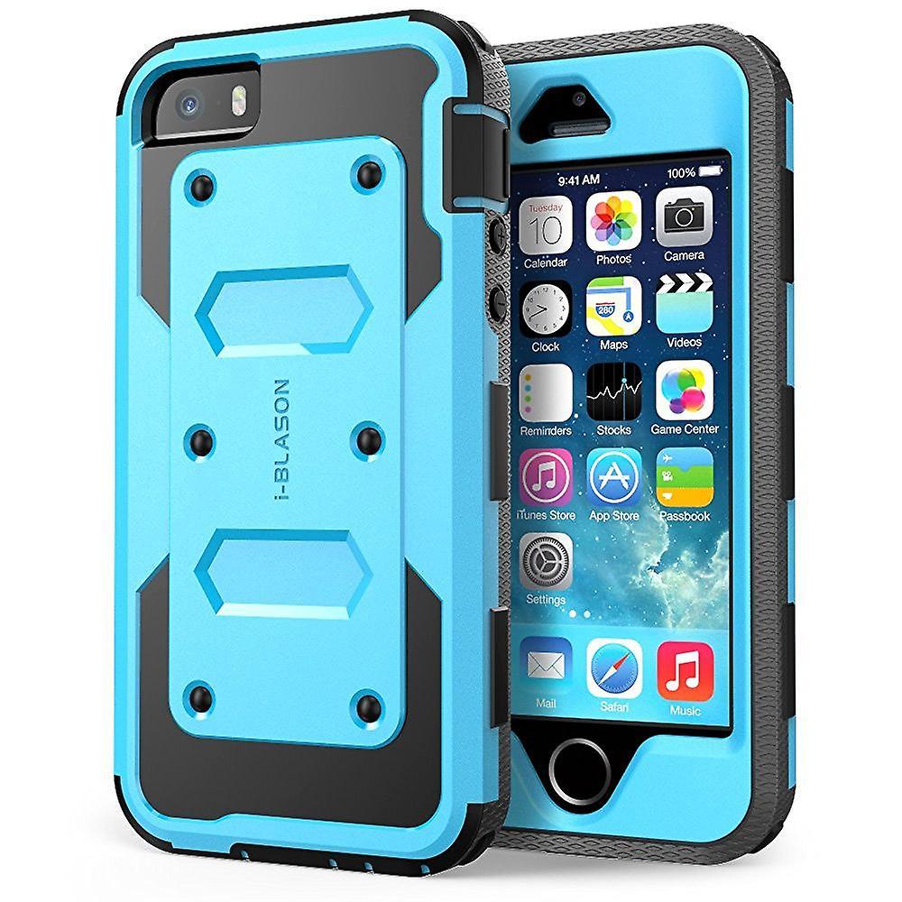 i-Blason-Apple iPhone 5S Case-Armorbox Dual Layer Holster Case - Blue