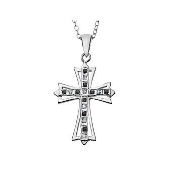 Blue Natural Blue Sapphire Cross Pendant Necklace in Platinum Plated Sterling Silver with Chain