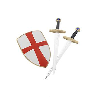 Crusader Knight set with two swords and shield 50 cm