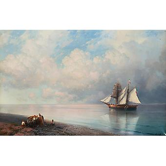 Ivan Hovhannes Aivazovsky - Calm early evening sea Poster Print Giclee