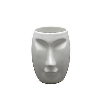 Lys-glød porcelæns lysestage, Moai kvinde ansigt