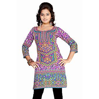 Lavender 3/4 sleeve Indian Printed  Kurti Tunic Women Kurta