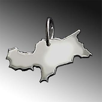 Trailers South Tyrol map in solid 925 Silver Pendant
