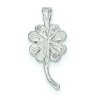 Sterling zilveren Solid Textured gepolijst 4-klavertje charme - 1.5 gram