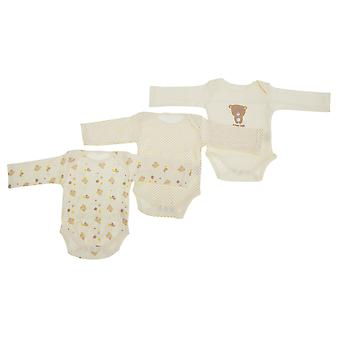 Baby Unisex Teddy Bear Pattern Long Sleeve Bodysuits (Pack Of 3)