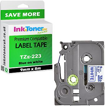 Compatible Brother PT-H101C Label Tape TZe223 laminated blue-white 9x8