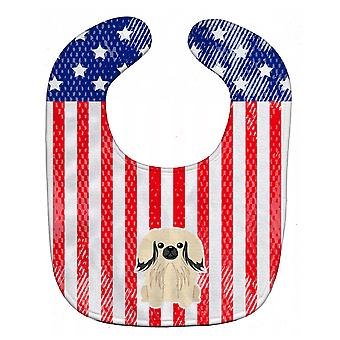Carolines Treasures  BB3101BIB Patriotic USA Pekingnese Cream Baby Bib