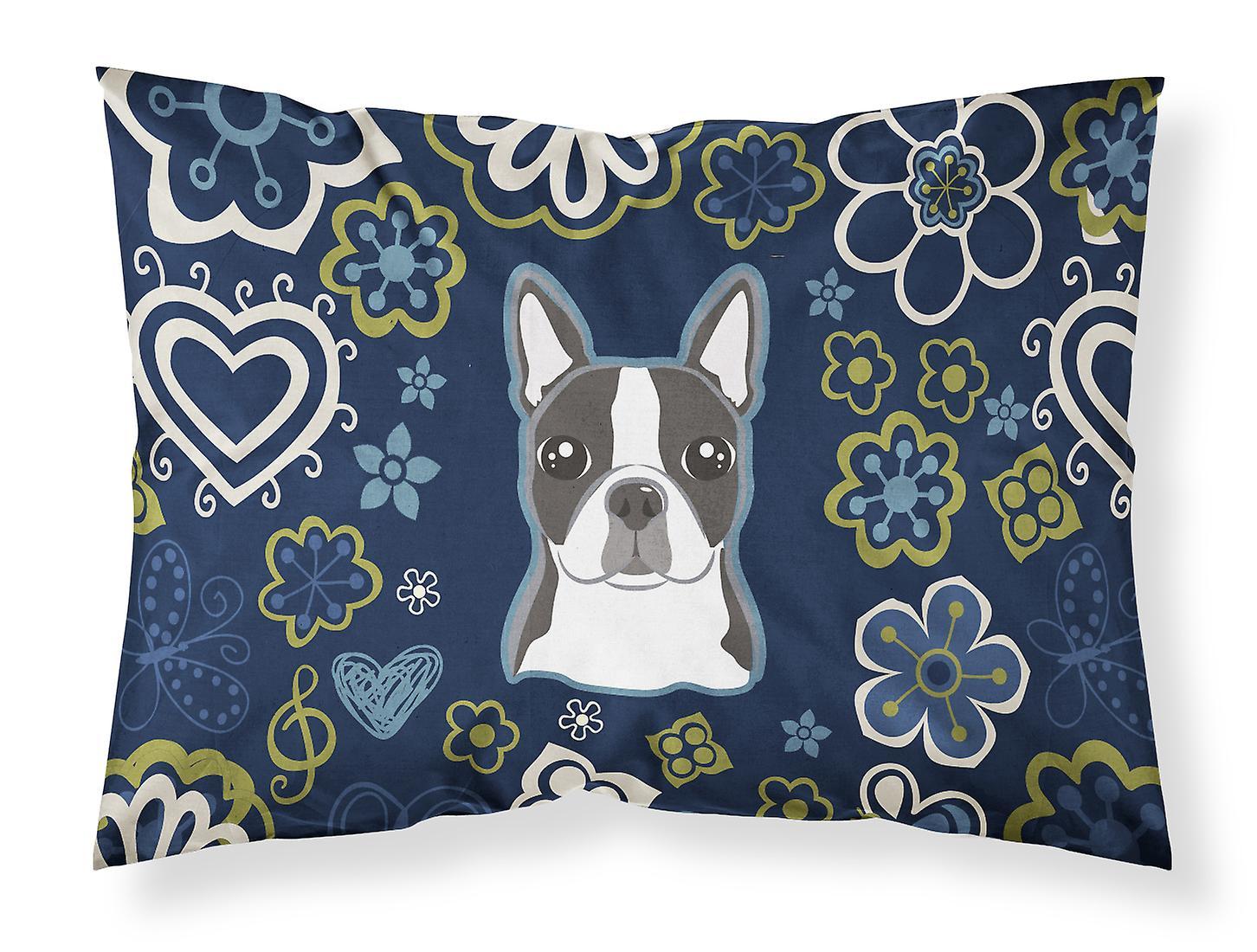 Standard Tissu Taie De Boston Fleurs Terrier Bleues D'oreiller wO0vN8nm