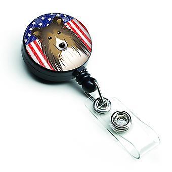 Carolines tesori BB2172BR bandiera americana e Sheltie retrattile Badge Reel