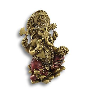 Golden Ganesha Sitting on Lotus Flower Statue